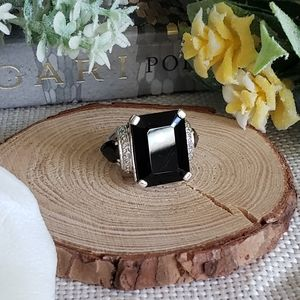 Black Spinel and Diamond Sterling Silver Ring